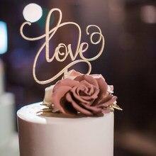 Деревенская любовь Свадебный торт Топпер, романтическая помолвка торт Топпер, дерево акриловое зеркало золото серебро украшение для сваде...