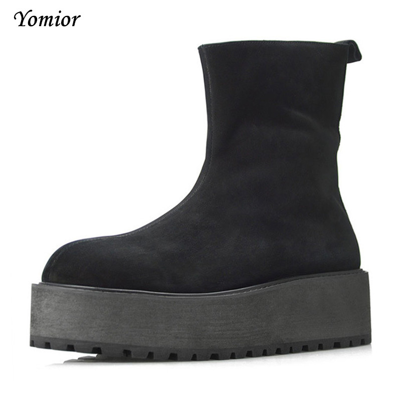 Handmade Fashion Genuine Leather Men Winter High Heel Boots Zip High Quality Sexy Boots Platform Thick Bottom Military Boots