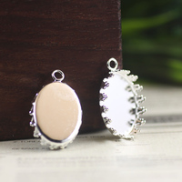 13 18mm 100pcs Oval Silver Blank CROWN Pendant With Hanger Trays Bases Cameo Cabochon Setting For