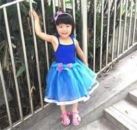 Girls Princess Dress Baby Girls Ball Gown Girls Slip Flower Pattern Children Party Short Kids Dresses Girls Blue Veil Dress