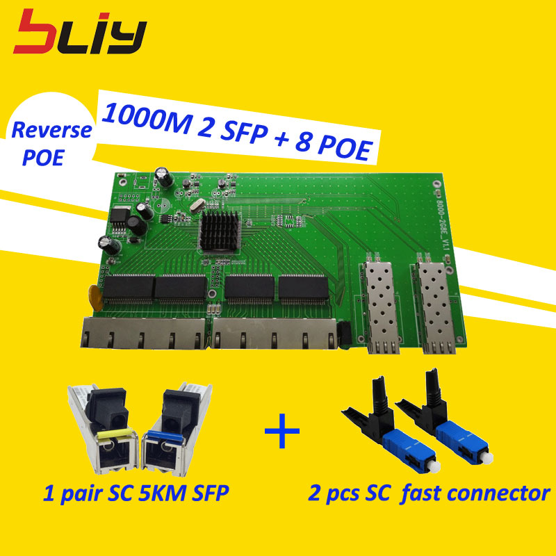 Reverse POE switch 2 SFP 8 10/100/1000 Mbps lan switch ethernet RJ45 sc 5km gigabit sfp module fast connector