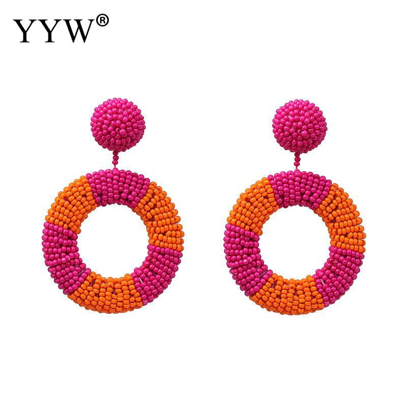 Colorful Ethnic Earring Seedbeads Hanging Dangle New Bohemia Style Pop Color Beads Fashion Woman Jewelry Pendientes wholesale in Drop Earrings from Jewelry Accessories