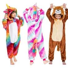 New Childrens Pajamas Cute Girls For Boys Kids Unisex Animal Sleepwear Unicorn Panda Onesies Cosplay Costume Sleep Suit