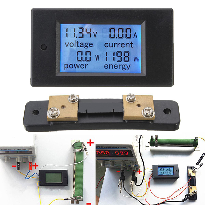 New DC 100A LCD Digital Power Meter Panel Voltmeter Ammeter + 50A Shunt For Power Tool Accessories dc 100a analog ammeter panel amp current meter 85c1 gauge 0 100a dc shunt