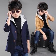 Дети шерстяные пальто Корейских детей зимние модели большой девственный Капюшоном толстые шерстяные