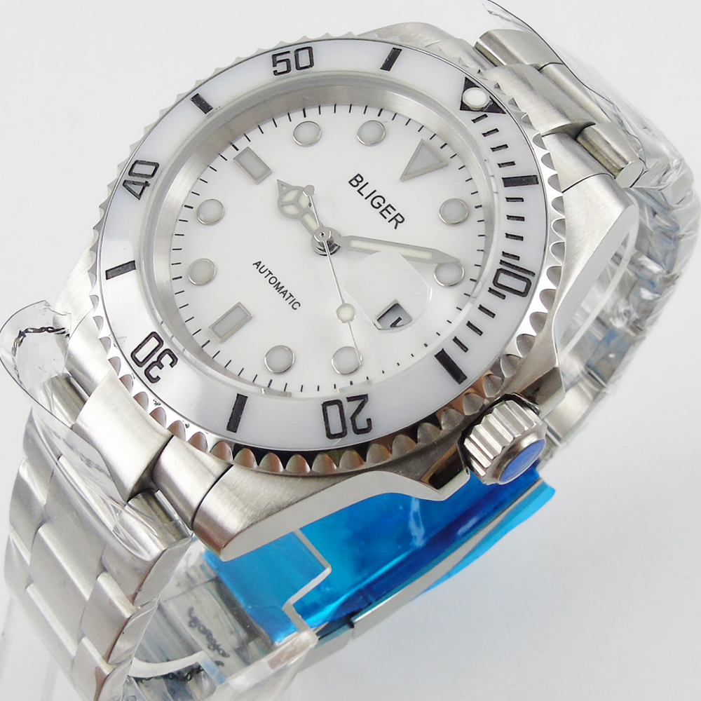 Bliger 40mm white bezel white dial Sapphire Glass Ceramics Bezel Automatic Men's Watch