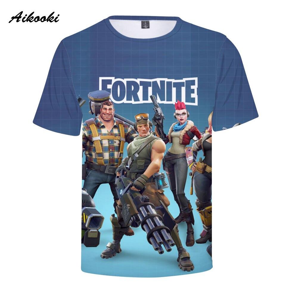 Aikooki 2018 New Fortnite 3D Printed T-hsirt Men Cotton Summer Tshirt 3D Casual T Shirts Fashion Game Fortnite Tops Cool Shirt