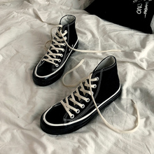 Classic Solid Black Unisex Canvas Shoes 2019 New Spring High