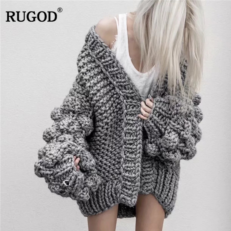 RUGOD Latest Loose Lantern Sleeve Hand Knitted Cardigan Sweater Women Fashion Shrug Sweater 2018 Winter Warm