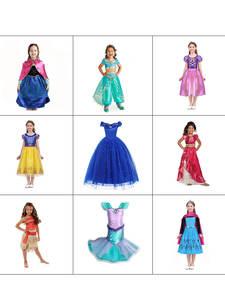 Anna Elsa Dress-Up Rapunzel-Costumes Party-Clothing Princess-Dress Moana Jasmine Frock