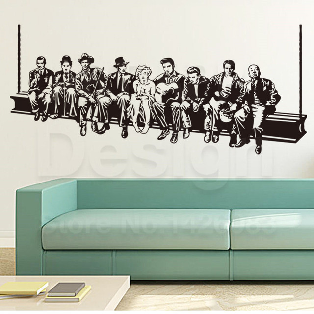 Art Design Home Decoration Vinyl Hollywood Stars Wall Sticker House Decor PVC Removable Film