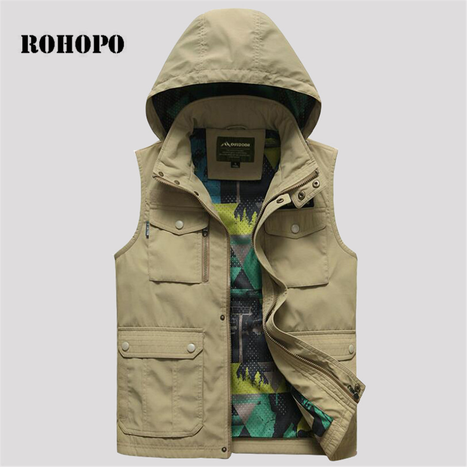Men's Clothing Rohopo Mans Solid Quick Dry Military Hooded Vest,top Brand Casual Deportes Pockets Sleeveless Quick Dry Jacket Military Style