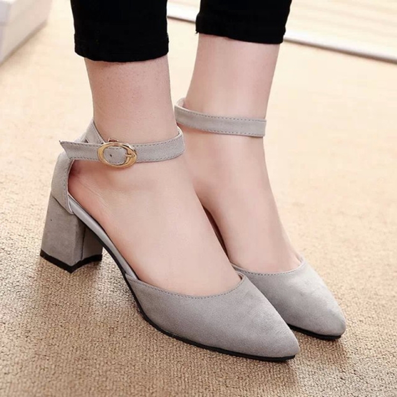 2017 Women Shoes Fashion Sexy Chunky Point Toe Pumps Dressy Women Mid Heels Shoe Buckle Strap 3-5 Hight Heel Shoes Ankle Strap
