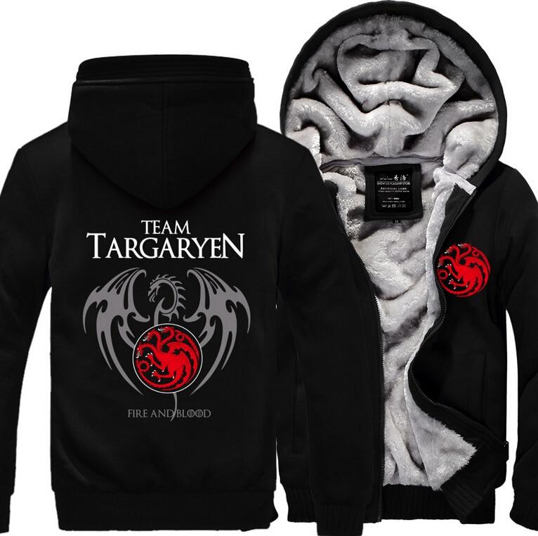 Hot New Game of Thrones Viserys Targaryen Dragon Hoodie Logo Winter JiaRong Fleece Mens Sweatshirts Free
