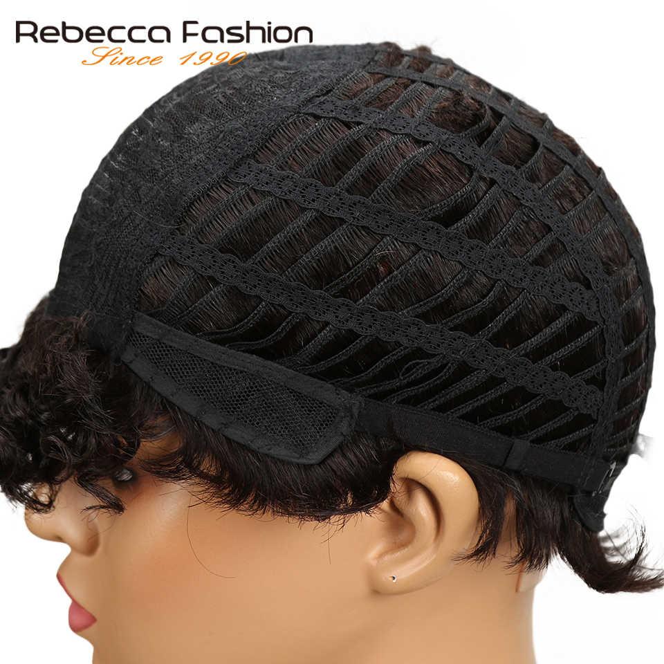 Peluca rizada corta de Rebeca Peluca de pelo humano Remy rizado de Sassy peruano para mujeres negras vino rojo marrón 10 colores 8 pulgadas envío gratis