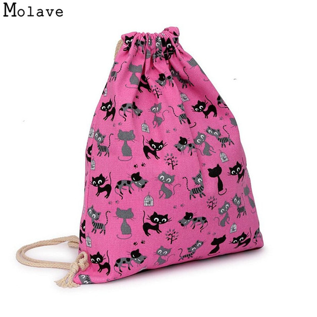 c06626e098 Naivety Canvas Drawstring Bag Cats Printing Backpack Sack Portable Beach  Travel Pouch 28S7901 drop shipping