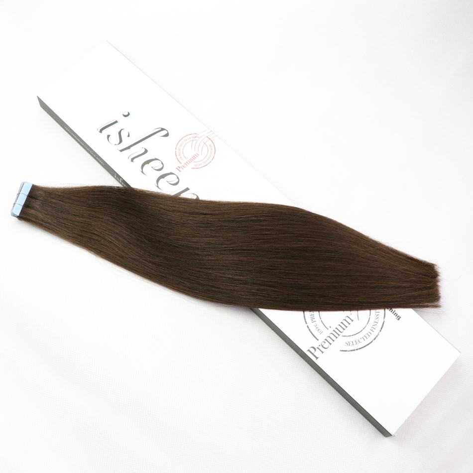 Isheeny 2# Premium Remy Tape Hair Extensions Double Drawn 16 18 20 22 Real Human Hair Extensions Straight Bundle Dark Brown