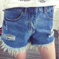 2016 seção curta de shorts soltos das mulheres buraco rebarba no parágrafo azul de cintura alta shorts jeans C-104