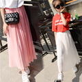 Kids Girls Pleated Chiffon Long Skirts 2016 New Summer Children Hem Skirts for Girls Bohemian Skirt Black Pink White Maxi Skirts