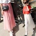 Kids Girls Pleated Chiffon Long Skirts 2017 New Summer Children Hem Skirts for Girls Bohemian Skirt Black Pink White Maxi Skirts