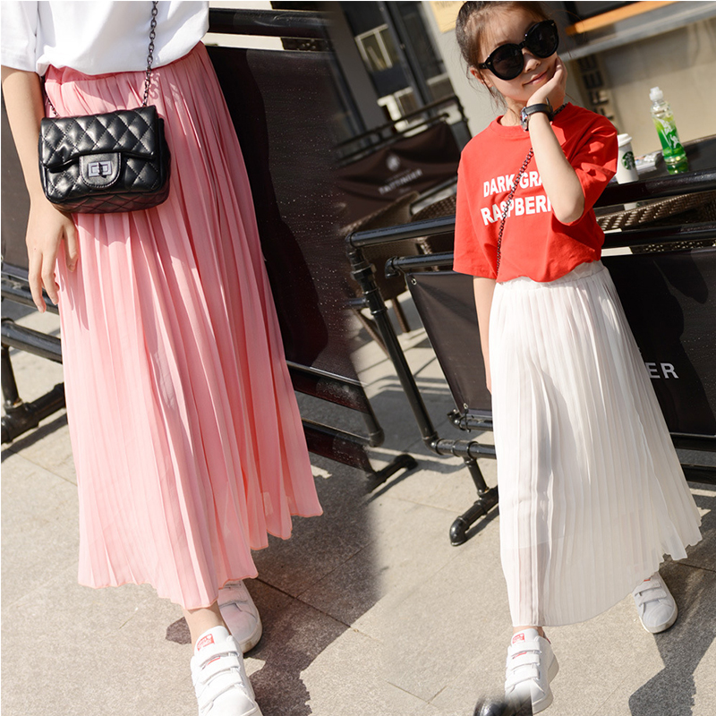 Kids Girls Pleated Chiffon Long Skirts 2018 New Summer Children Hem Skirts for Girls Bohemian Skirt Black Pink White Maxi Skirts checkered fishtail hem skirt