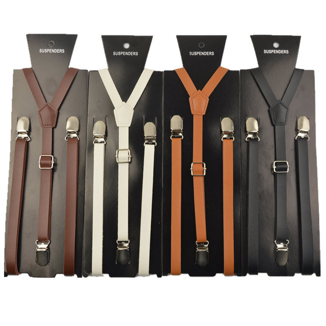 0f82a879c High quality Brown and black woman suspender braces 15mm width mens women  pu leather suspenders for men 115cm