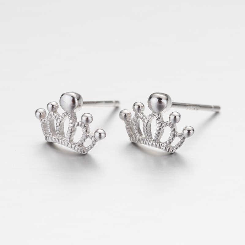 Jisensp 925 เงินสเตอร์ลิง Princess Crown Stud ต่างหูสำหรับผู้หญิงงานแต่งงานต่างหู Brincos เครื่องประดับคริสต์มาสอุปกรณ์เสริม