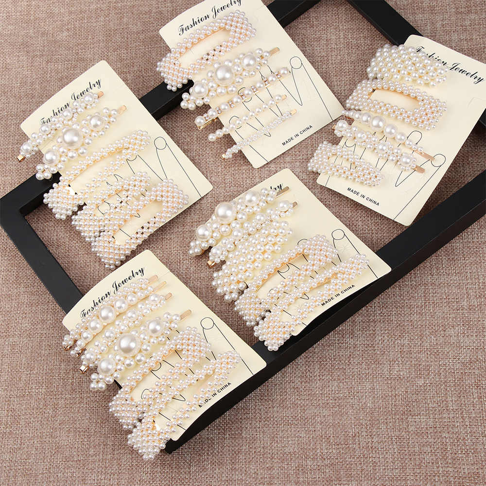 1 Set Vintage Pearl Hairpins Fashion Imitiation Pearl Hair Clips For Women Girls Barrettes Flowers Hair pins Hair Styling