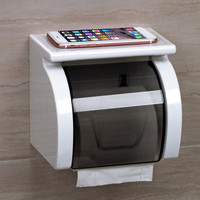 Plastic Toilet Bathroom Tissue Paper Box Punch off Waterproof Paper Holders with Commodity Shelf