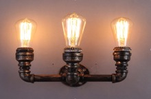 3 Головки Водопровод Стимпанк Старинные Настенные Светильники Для Столовой Бар Украшения Дома Американский Промышленный Чердак Бра