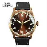 Сан Мартин для мужчин's Винтаж пилот бронза латунь автоматические часы 30 м водостойкость сапфировое стекло Relojes Hombre 2018 наручные