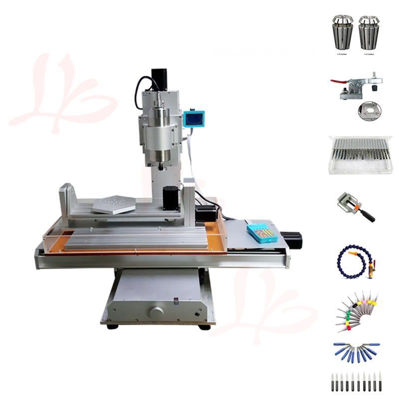 Vertical engraving machine 5axis CNC 3040 mini PCB drilling machine 1500W water cooled spindle wood router with collet cutter