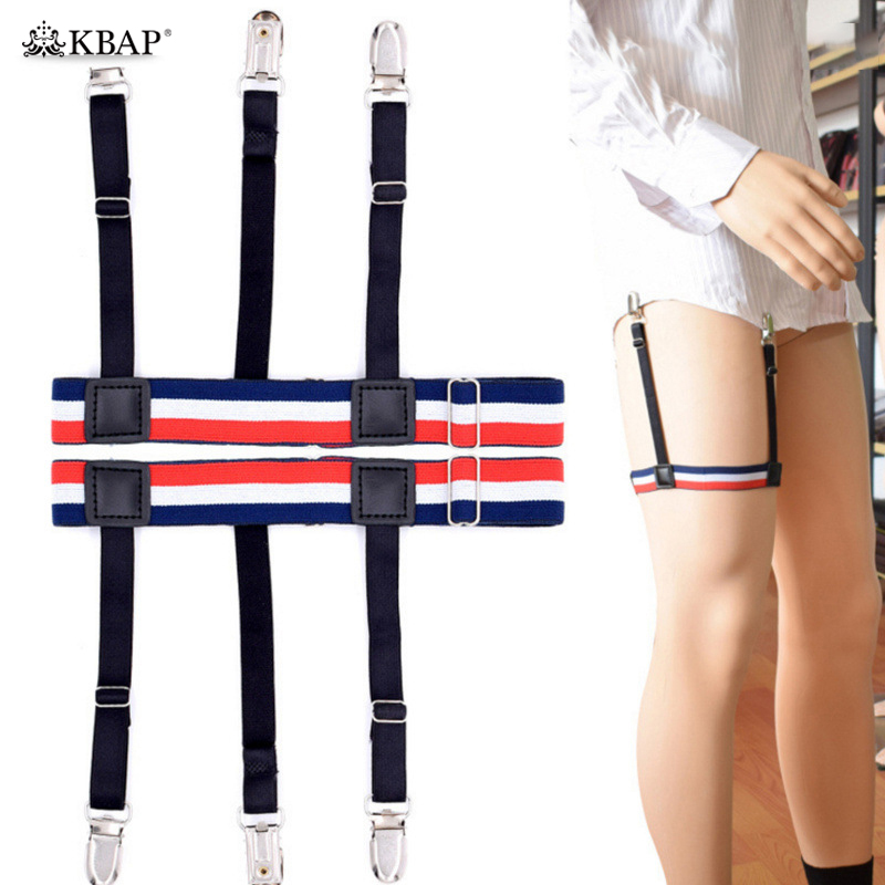 Men's Accessories Provided Mens Fashion Stripe Shirt Stays Holders For Men Adjustable Elastic Shirt Garters Leg Suspenders Non-slip Clamp Skin-friendly Wide Selection; Men's Suspenders
