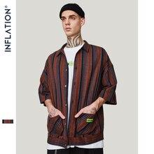 INFLATION 2019 New Arrival Stripe Turn down Collar Shirts Loose Fit Streetwear Short Sleeve Shirt Summer Dress Shirts 9210S