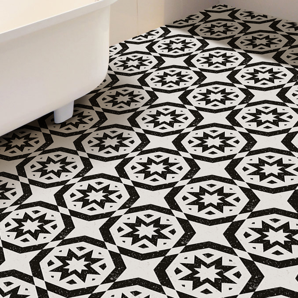 Fashion Home Decoration Floor Sticks Black White Tiles PVC Waterproof Self Adhesive Wallpaper For Bathroom Kitchen Art Decal in Wall Stickers from Home Garden