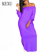 KEXU Casual Sexy Off Shoulder Maxi Dress Summer Women Slash Neck Hoolow Out Ladies Leasure Night Party Wear Plus Size XXL