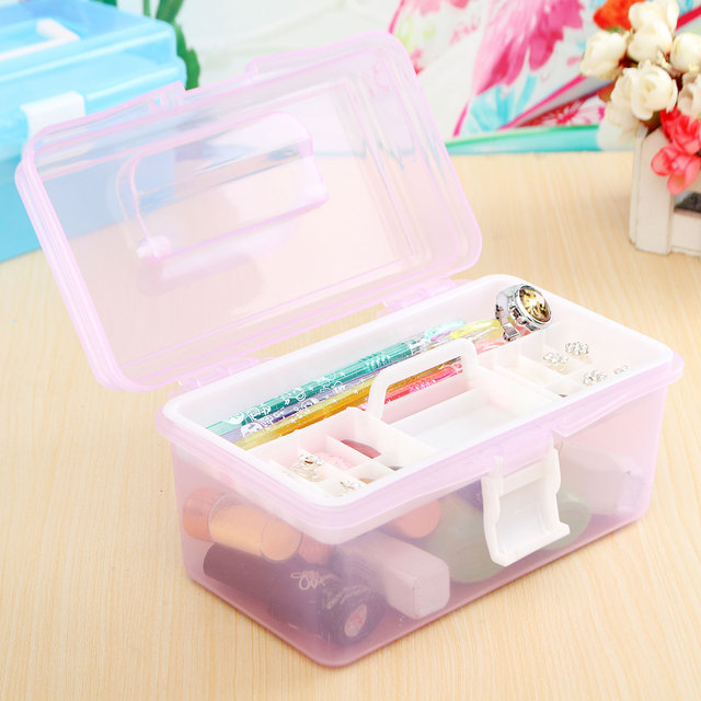 Multi Plastic Empty 2 Layer Storage Case Box Nail Art Craft Makeup Collection Tool Supplies