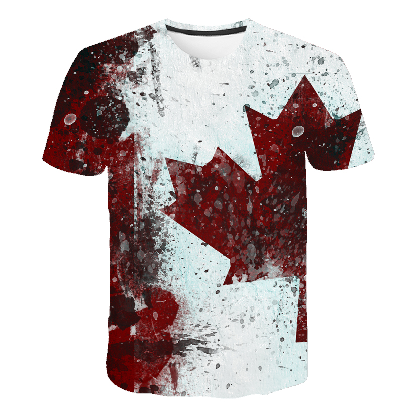 Brand Canada Flag Printing 3D Red Maple Tshirt Men Fashion Short Sleeve Summer T-shirts Casual Canada Flag Funny Tops Tees Homme