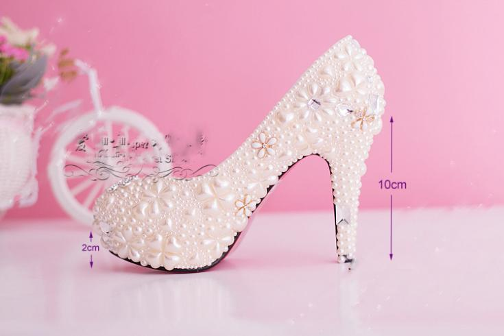 2016 Finery Ultra-high with Waterproof shoes Shoes Woman Bride Dress Shoes Pearl Diamond wedding shoes  Size34 to Size 39