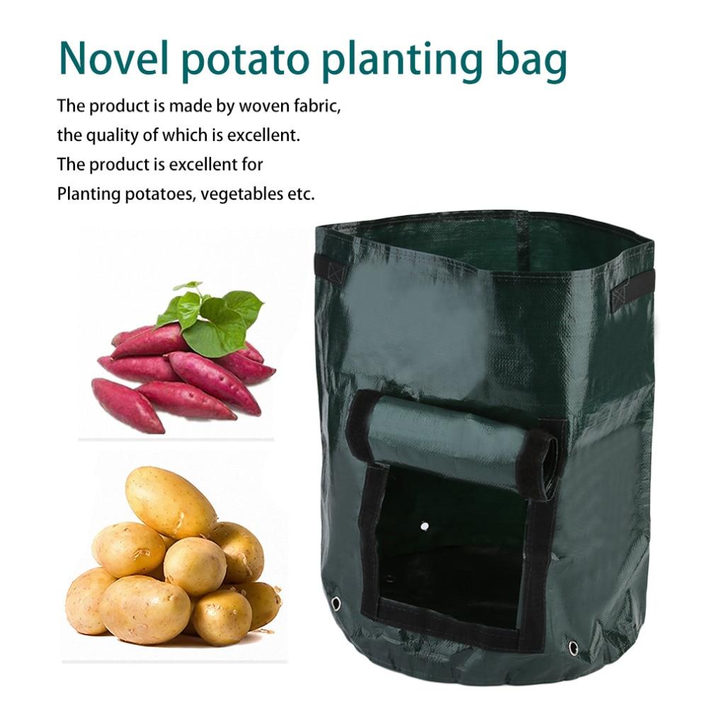 1 Stücke Gewebe Taschen Kartoffel Anbau Pflanzen Garten Töpfe Pflanzgefäße Gemüse Pflanztaschen Wachsen Tasche Bauernhof Hausgarten PE Tasche