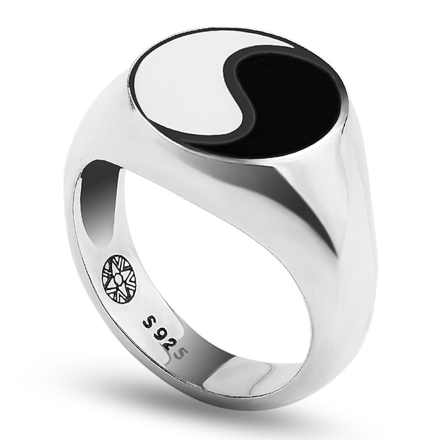 Tai chi Yin Yang Gossip Ring Men Enamel Antique 925 Sterling Silver Finger Ring Jewelry For Men