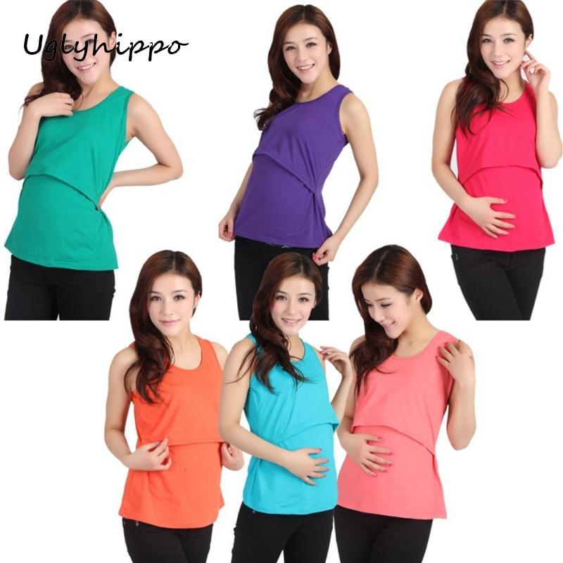 2017 Summer Maternity Nursing Tank Clothes Breastfeeding t-shirt For Pregnant Women Pregnancy Nurse Wear Clothing M2MO18