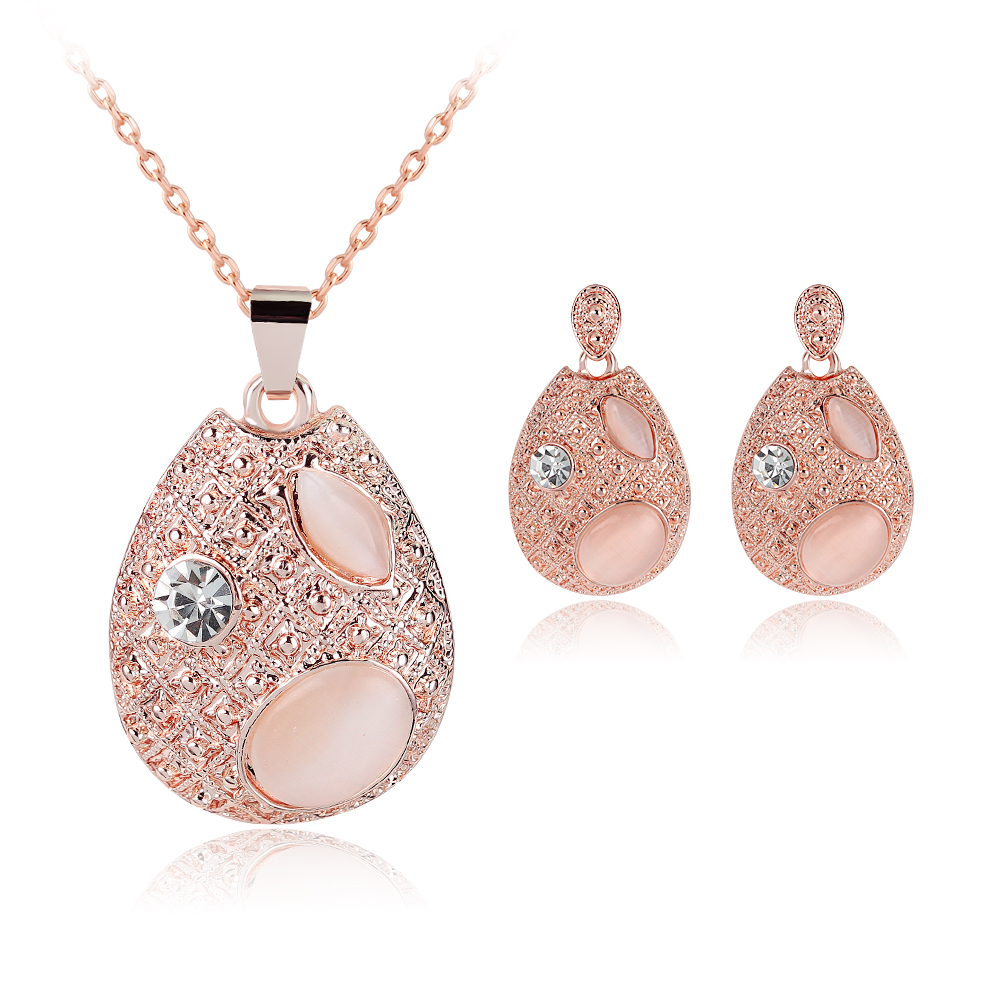 New Fashion Women bridal Wedding Jewelry Sets Charm Crystal Water Drop Pendant Necklaces Earrings Sets Shininy Zircon bijoux
