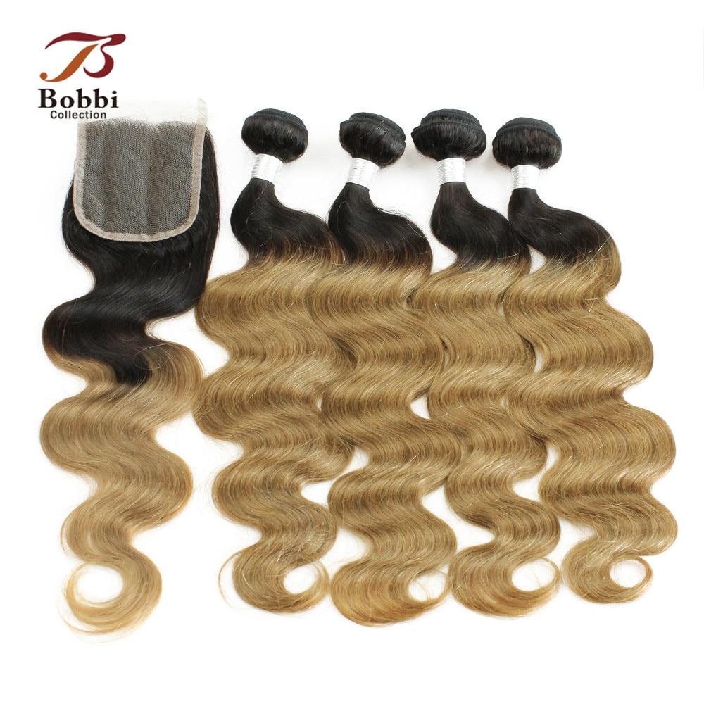 Indische Körperwelle T 1B 27 Honig Blonde Ombre Haar 3/4 Bundles Mit - Schönheitsversorgung