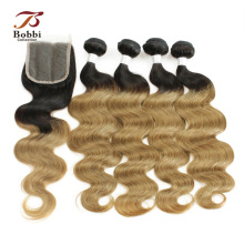 Indian Body Wave T 1B 27 Honey Blonde Ombre Hair 3/4 Bundles con cierre Pre-Colored Non Remy cabello humano WeaveBOBBI COLLECTION