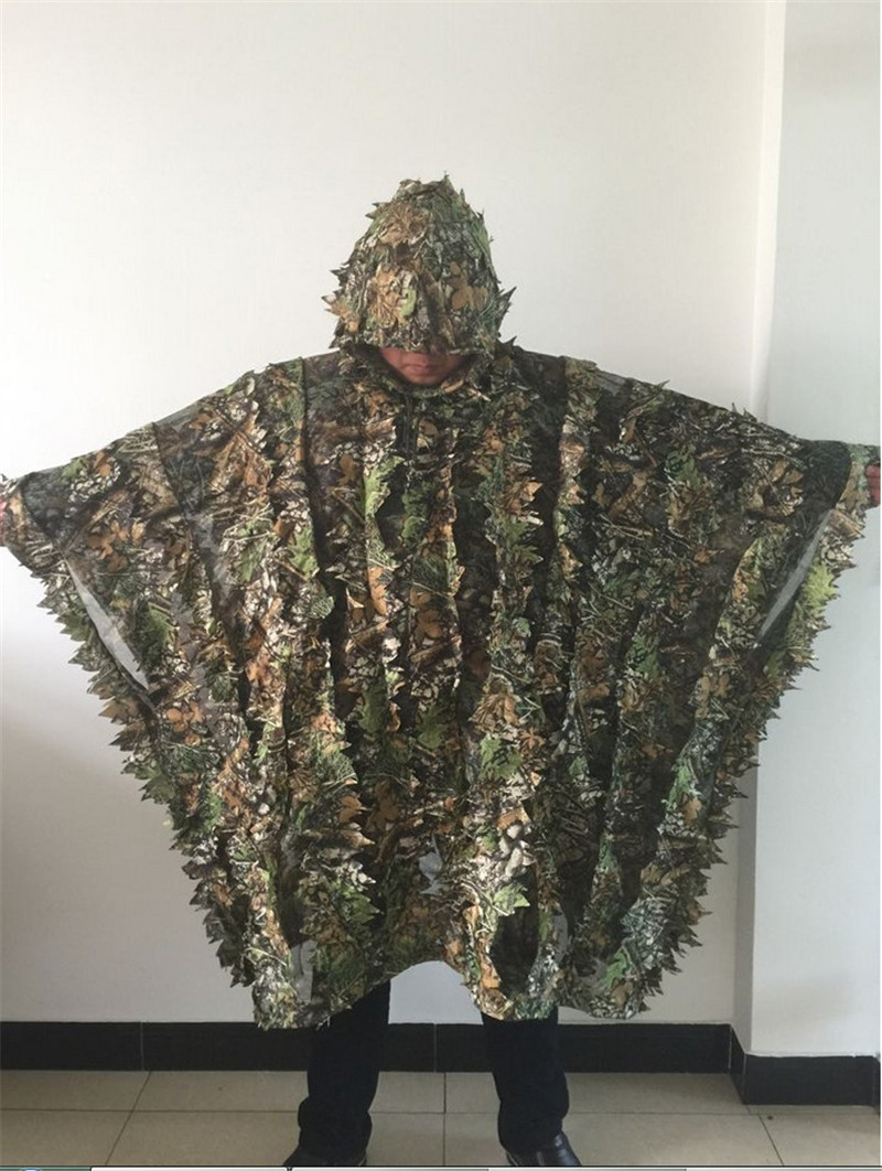 be2d59dbf09 New Arrival Leafy Poncho Jungle Ghillie Suits Hunting Camouflage 3D Bionic  Leaf Yowie Mesh for Hunting