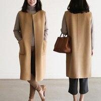 Women Khaki Wool Gilet Round Collar Plus Size fashion wild long vest female Sleeveless Coat Female Oversized Waistcoat