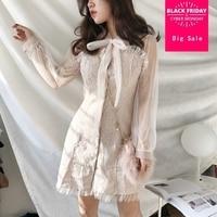2019 spring fashion brand Japanese style Lolita Dress cute girl ruffle was thin singel breasted dress wj2040 drop shipping