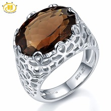 Hutang Huge Natural Smoky Quartz Filigree Cocktail Engagement Ring Solid Sterling Silver 925 Gemstone Fine Jewelry
