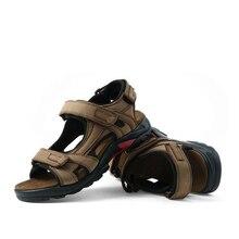 QFFAZ New High Quality Summer Men Sandals Genuine Leather Men Sandals Comfortable Men Shoes Fashion Plus Size